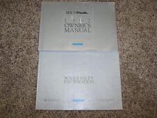 1992 Mazda MX-5 Miata 1.6L 4Cyl Operator User Guide Owner Owner's Manual