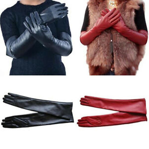 Long Leather Women Gloves Elbow Lined Soft Ladies Winter Warm Evening Party Hot