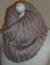 Pink Grey Wool Knitted Infinity Scarf Double Layer Cowl Snood Neck Warmer