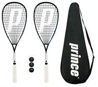 2 x Prince Pro Sovereign 650 Squash Rackets + 3 Squash Balls + Covers RRP £330