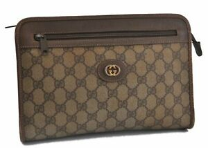 Authentic GUCCI Clutch Bag GG PVC Leather Brown B9204