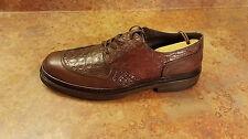 Salvatore Ferragamo 'Monza' Crocodile Leather Shoes Brown Mens 10 D MSRP $960