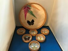 Vintage Butterfly Bamboo Tray & Coasters 7 Pc Set Nib