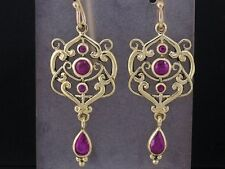 E104- Genuine 9ct SOLID Gold NATURAL Ruby Drop Earrings Filigree Chandelier