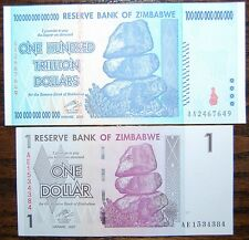 ZIMBABWE 100 TRILLION AND 1 DOLLAR BANKNOTES - TWO FOR ONE PRICE!