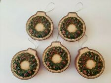 Holiday Home Gift Card Holder Tin Round Christmas Wreath Set of 5
