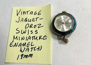 Vintage Jaquet Droz Swiss Hand Wind Enamel Watch 19mm Running