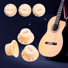 3Pcs Guitar Strat 2-Tone 1-Volume Knobs Cream Control Replace Switch Button Cap