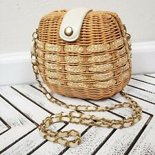 Small Basket Hardshell Crafted Woven Chain Strap Crossbody Purse Clutch