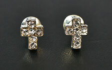 LADIES SMALL DIAMANTE ENCRUSTED CROSS EARRINGS GOTHIC /RELIGIOUS WEAR (ZX8)