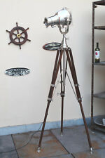DESIGNER VINTAGE STYLE TRIPOD FLOOR LAMP ,BRUSHED ALUMINUM FINISH