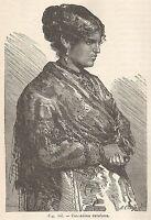 A5842 Contadina della Cataluna - Xilografia - Stampa Antica del 1895 - Engraving