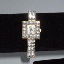 Xanadu Mineral Rhinestone Crystal Watch Bangle Gold Tone Shiny Bracelet Party