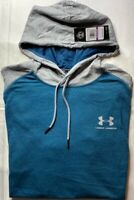Under Armour Mens Hoodie Blue Gray Pullover Short Sleeve Drawstring 2XL New