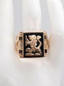 Antique 1940s RETRO 14k Yellow Gold LION Black Onyx Mens Band Ring 9g HEAVY