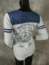 Womens LIBERTY WEAR Long Sleeve Black Shirt Thermal Vintage WINGS Grey Blue