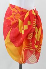 "Cocktail - Pareos 100% Polyester Red & Orange Print Pareo L: 70"" x W: 40"""