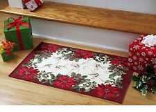 """Xmas In July Decorations Fireplace Poinsettia Rug Kitchen Dinning Room 18""""x25"""""""