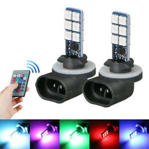 2x 881 5050 RGB LED 12SMD Car Headlight Fog Light Lamp Bulbs + Remote Control YN