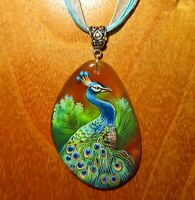 Peacock Pendant Indian Peafowl bird Natural Genuine Russian hand painted stone