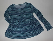 Girls GYMBOREE Long Sleeve Poly Blend Navy & Teal Top Size 10