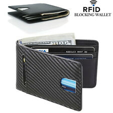 Men's Carbon Fiber Grain Billfold Wallet RFID Blocking ID Card Holder Money Clip