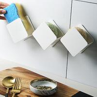 KQ_ Kitchen Sink Sponge Scouring Pad Holder Wall Mounted Sundries Draining Racks