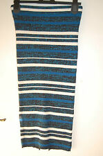 Knitted Straight Skirt Teal Mix Lurex Marks & Spencer Limited Coll Size 6 BNWT