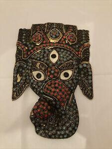 Vintage Tibetan Inlaid Coral ,Turquoise,color Brass Ganesha Elephant  Mask