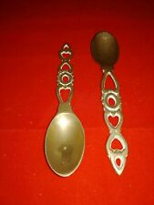 Pair of Vintage Brass Welsh Love Spoons, VGC,