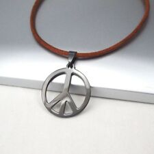 NEW Black Retro Peace Sign Symbol Stainless Steel Pendant Brown Leather Necklace