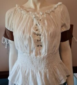 Belle Pogue Large Cream Pirate, Wench, Pagan, Blouse
