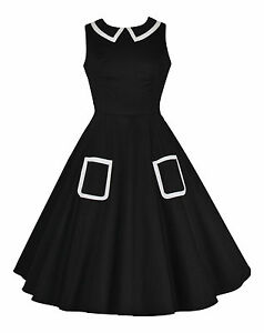 Vintage 1940's 1950's Black Collared Full Circle Swing Dress BNWT