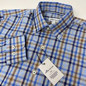 Peter Millar Crown Men's Small Multicolor Plaid Long Sleeve Button Down Shirt