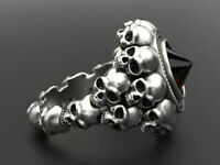 Luxurious 925 Silver Skull Band Ruby Ring Women Men Wedding Party Jewelry Sz6-13