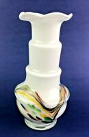 "Murano (?) style white splatter glass vase 5""  Art Deco Spattered Design Italian"