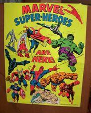 1971 3rd Eye BlackLight Poster MARVEL SUPER HEROES ARE HERE Stan Lee Comics VTG