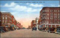 Albert Lea MN South on Broadway Linen Postcard