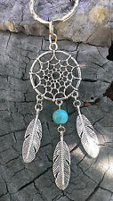 SILVER DREAMCATCHER ☆ AUSSiE MADE☆ KEY RING FEATHER PENDANT CHARM TURQUOISE BEAD