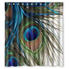 Beautiful Fabric Blue Green Brown Peacock Bird Feather Bathroom Shower Curtain