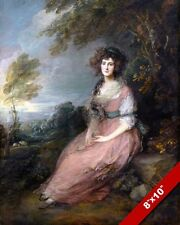 YOUNG ENGLISH WOMAN IN A PINK DRESS PORTRAIT PAINTING ART REAL CANVAS PRINT