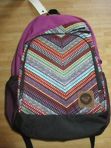 NEW✿ ROXY BACKPACK BOOK SCHOOL STUDENT Laptop Tablet Pouch Purple Boho