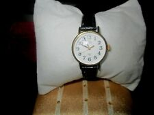 TIMEX INDIGLO Quartz CR1216 Cell Water Res Ladies Watch Black Leather Strap