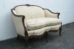 French Early 1900s Hand Carved Kidney Shape Loveseat Settee 2339
