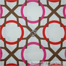 BonEful Fabric Fq Cotton Decor White Brown Pink Red Retro Girl Dot Circle Print