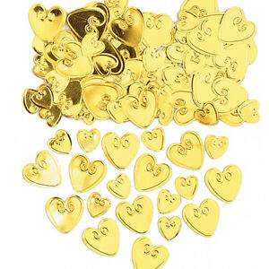 Gold Hearts Table confetti golden 50th anniversary