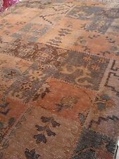 Oriental rug Antique look patchwork Oushak muted hand made 8x10 Overdyed new
