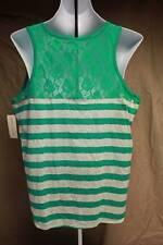 NEW Womens Lace Back Tank Top Plus Size 1X Ladies Green Striped Sleeveless Shirt