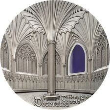 Tiffany Art Wells Cathedral Decorated 2oz Pure Silver Coin $10 Palau 2017