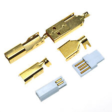 5Sets USB2.0 A to B Male Plug Connector Gold Plated Case Cover fr USB Cable